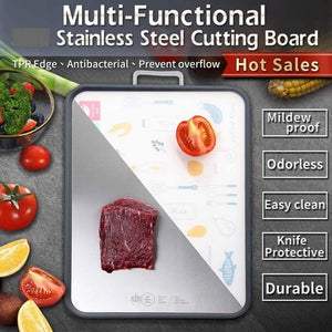 Homlly Double Sided Stainless Steel Cutting Boards