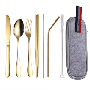 Homlly 8pcs Stainless Steel Cutlery Set with Pouch