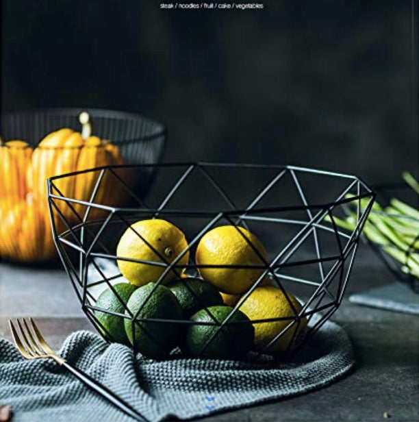 Homlly Black Metal Wire Fruit Storage Basket