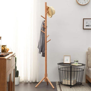 Homlly Ika Wooden Clothes Coat Rack