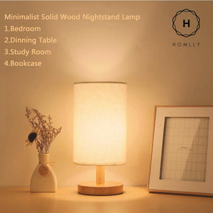 Homlly Minimalist Solid Wood Nightstand Lamp
