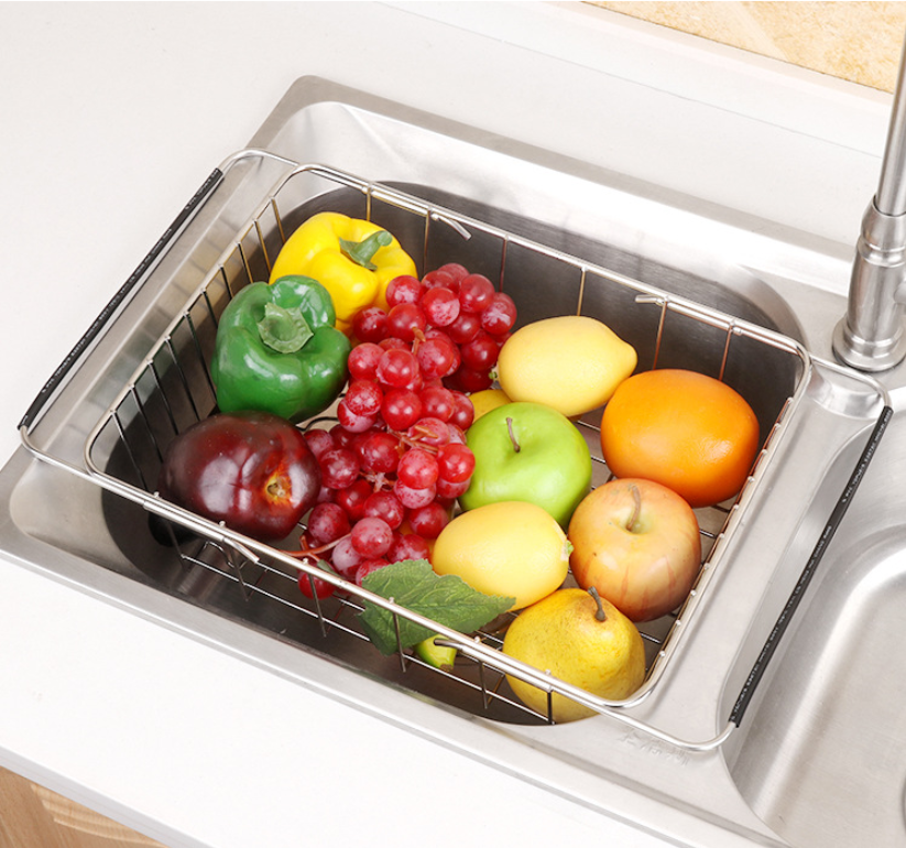 Homlly Expandable Stainless Steel Sink Dish Drainer