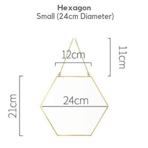 Homlly Keii Gold Rim Hanging Wall Mirror (Hexagon / Round Shape/ 3 different sizes)