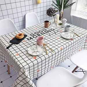 Homlly Good Morning Checked Table Cover Cloth  (4 Sizes)