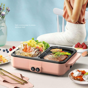 Homlly Electric Barbecue Grill 2 in 1 Hot Pot