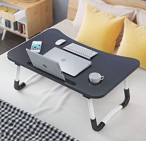 Homlly Breakfast Foldable Laptop Table with Tablet and cup slot