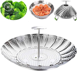 Homlly Stainless Steel Steamer Basket with Telescoping Removable Handle