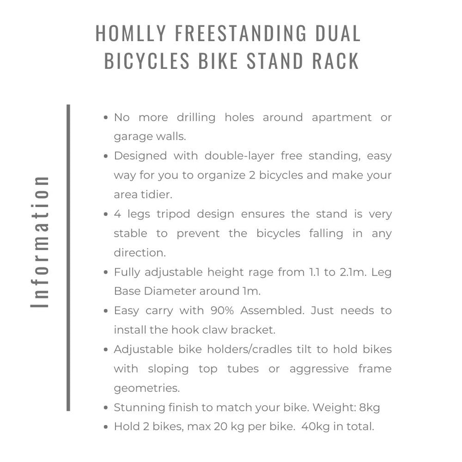 Homlly Freestanding Dual  Bicycles Bike Stand Rack