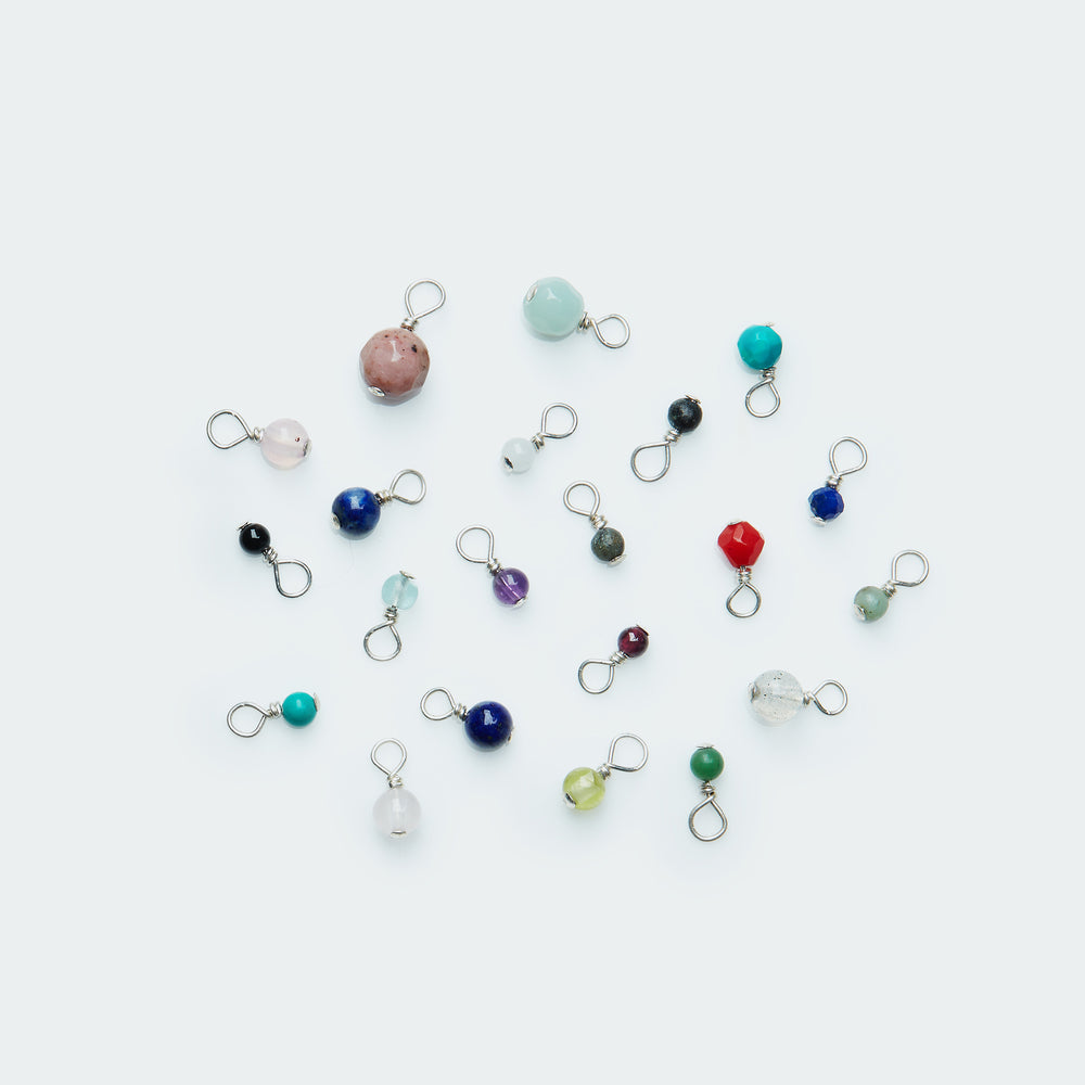 Add-on Smooth & Cut Pebble gemstone charm silver