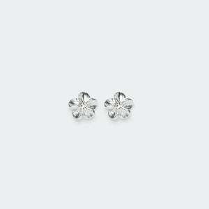 Load image into Gallery viewer, Plumeria stud silver