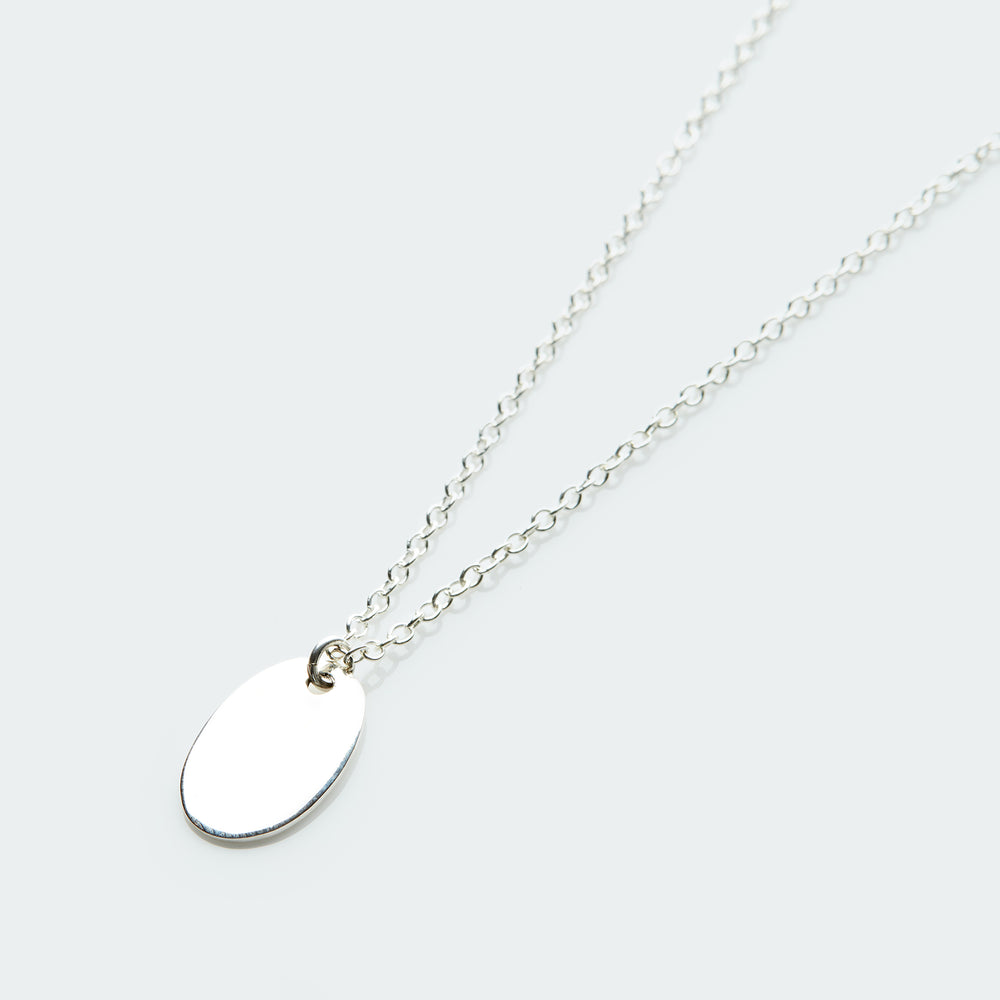 Large oval pendant necklace silver