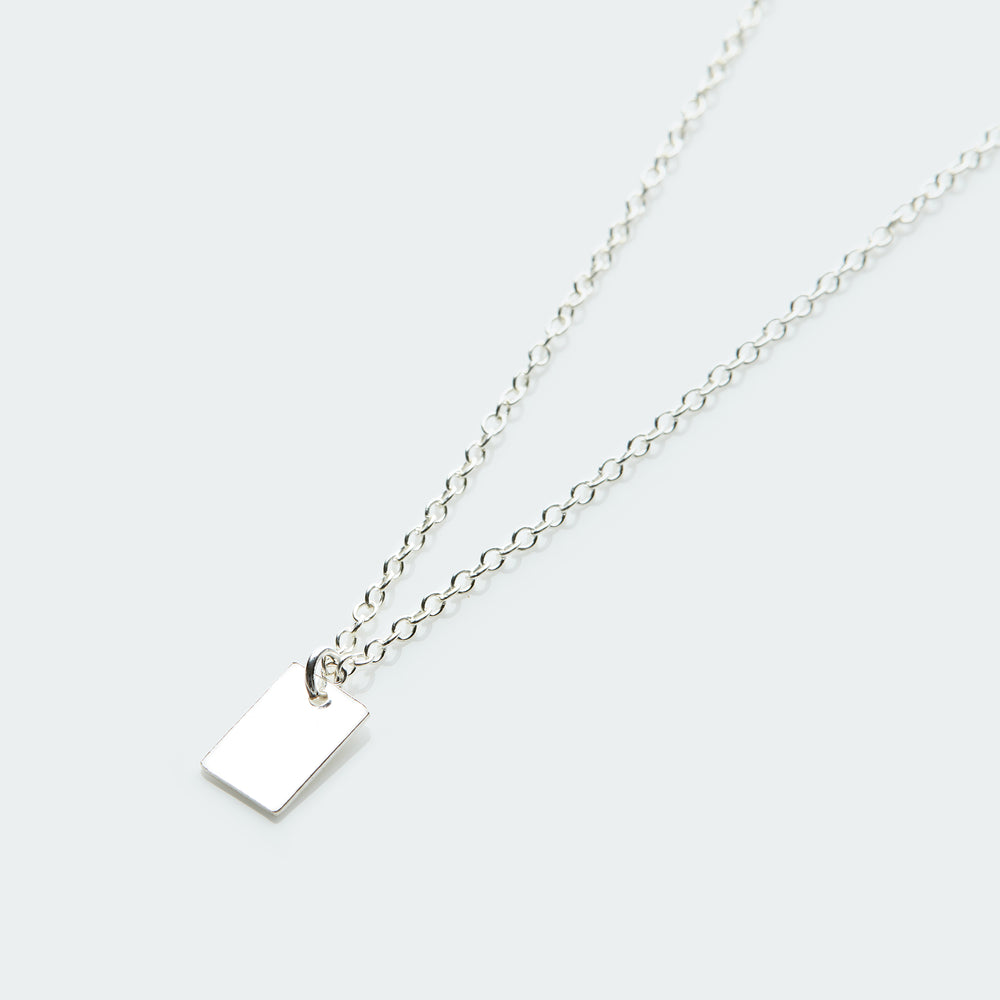 Rectangle pendant necklace silver