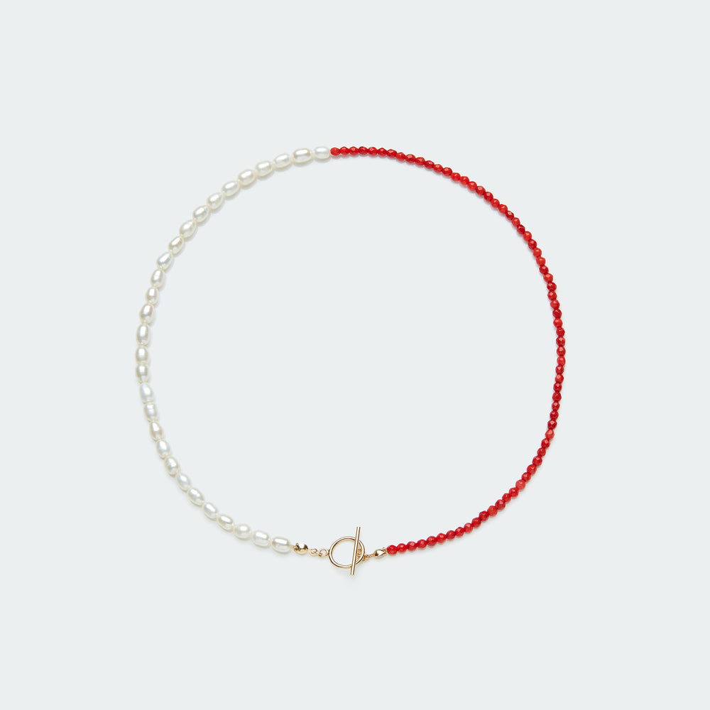 Rêve necklace gold - single colour medium pearl