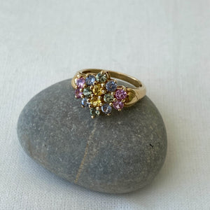 Colourful sapphire flower cluster solid gold ring