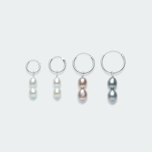 Silver hoop earring with double pearl charm