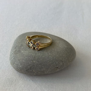Tanzanite and green amethyst solid gold ring