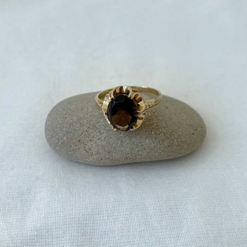 Smoky quartz statement solid gold ring
