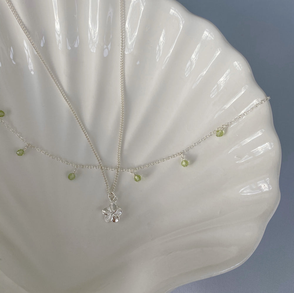 Greenery necklace set silver