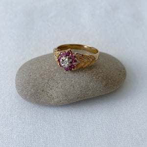 Ruby and diamond flower cluster solid gold ring