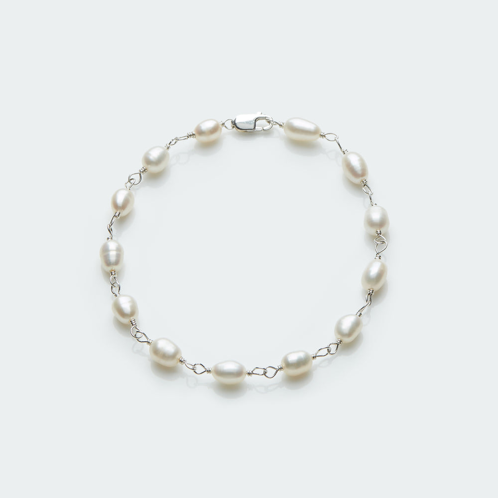 Pearl rosary bracelet silver