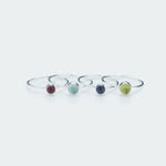 Round gemstone ring silver