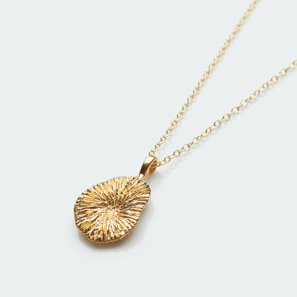 Natural Coral pendant necklace gold