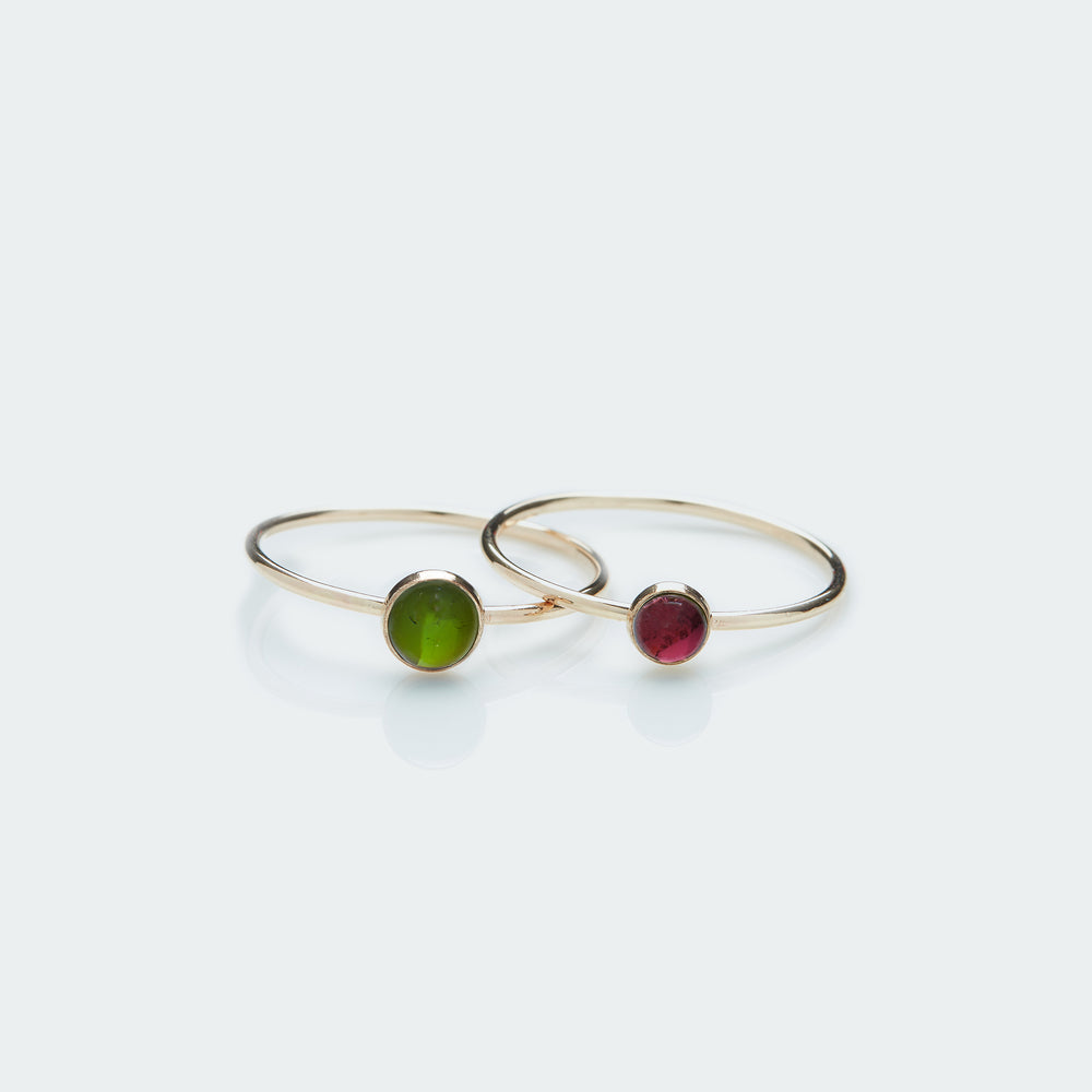 Round tourmaline gemstone ring gold