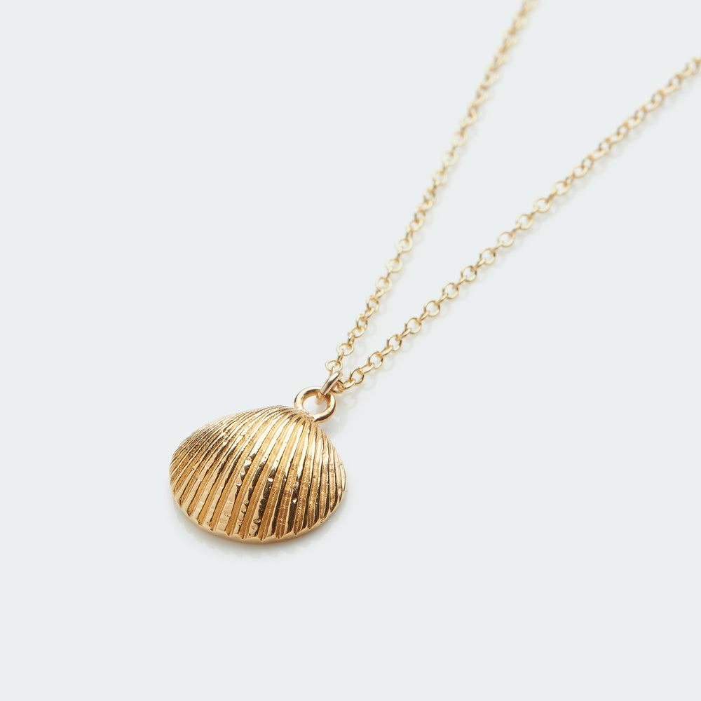 Cockle shell necklace gold