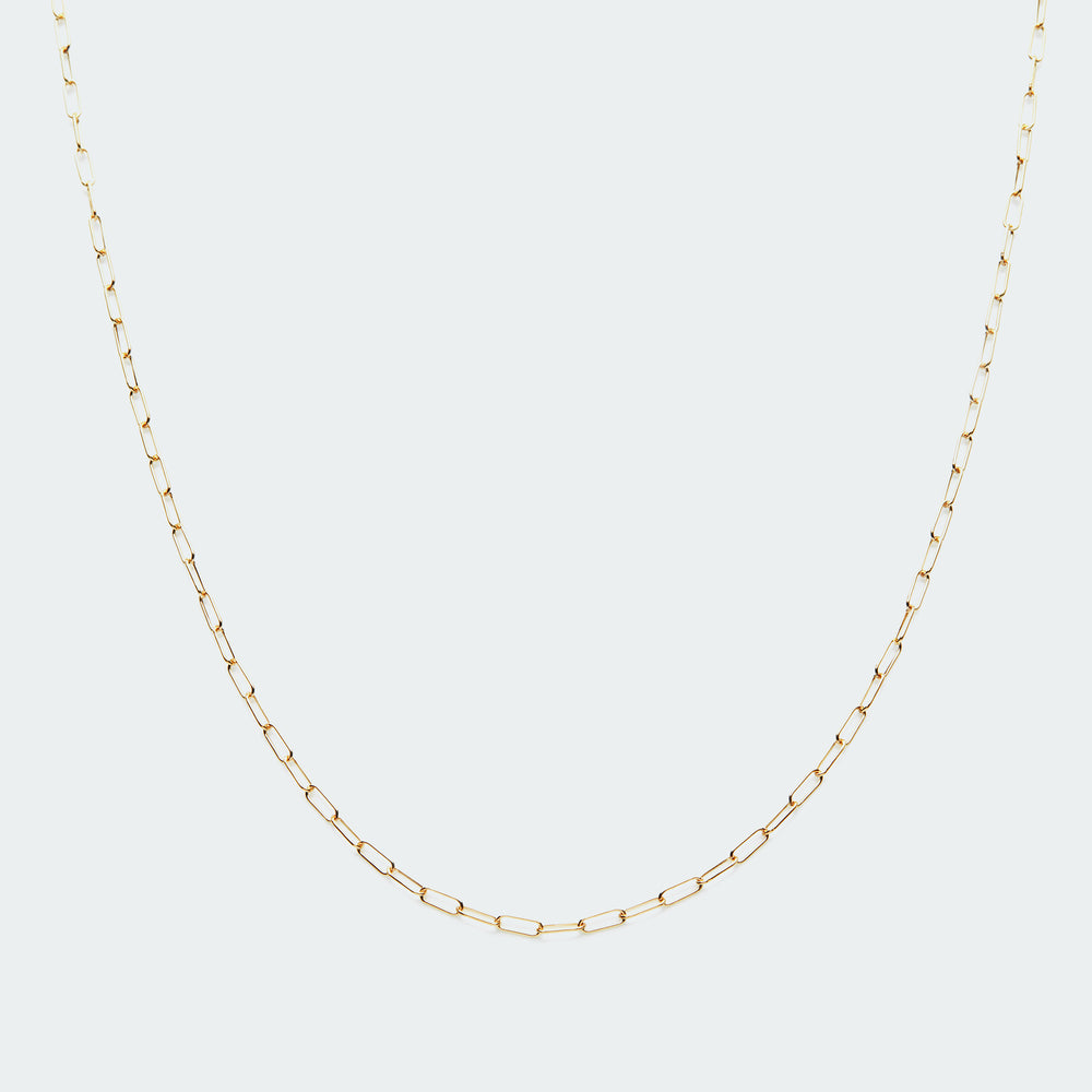 Staple chain layering necklace gold