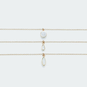 Mother of Pearl charm necklace gold