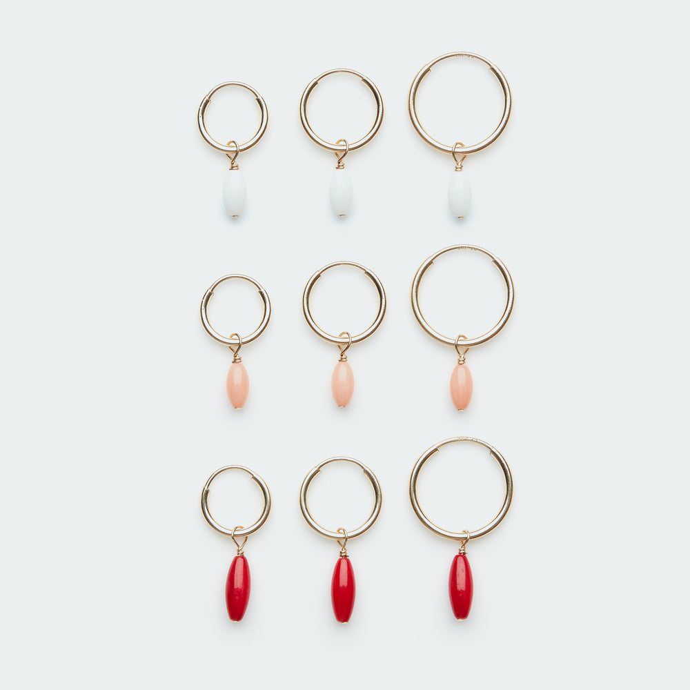 Gold hoop earring with Oval Coral