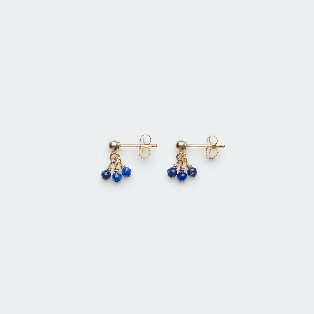 Cut Pebble charms stud gold