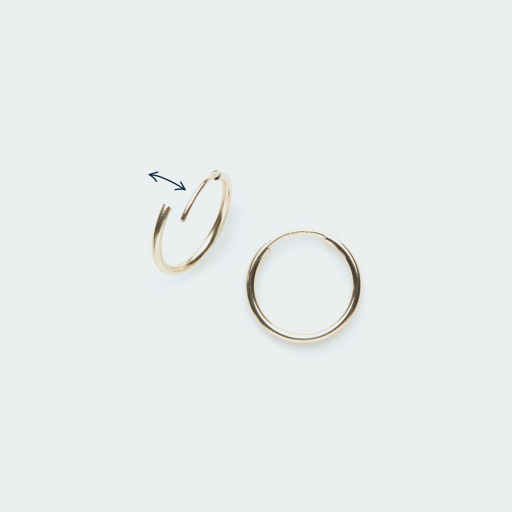 Load image into Gallery viewer, Gold hoop earring with square pendant