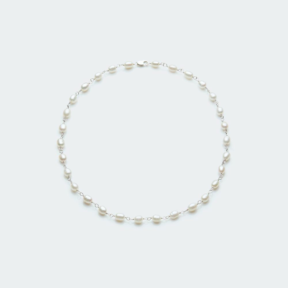 Pearl rosary necklace silver
