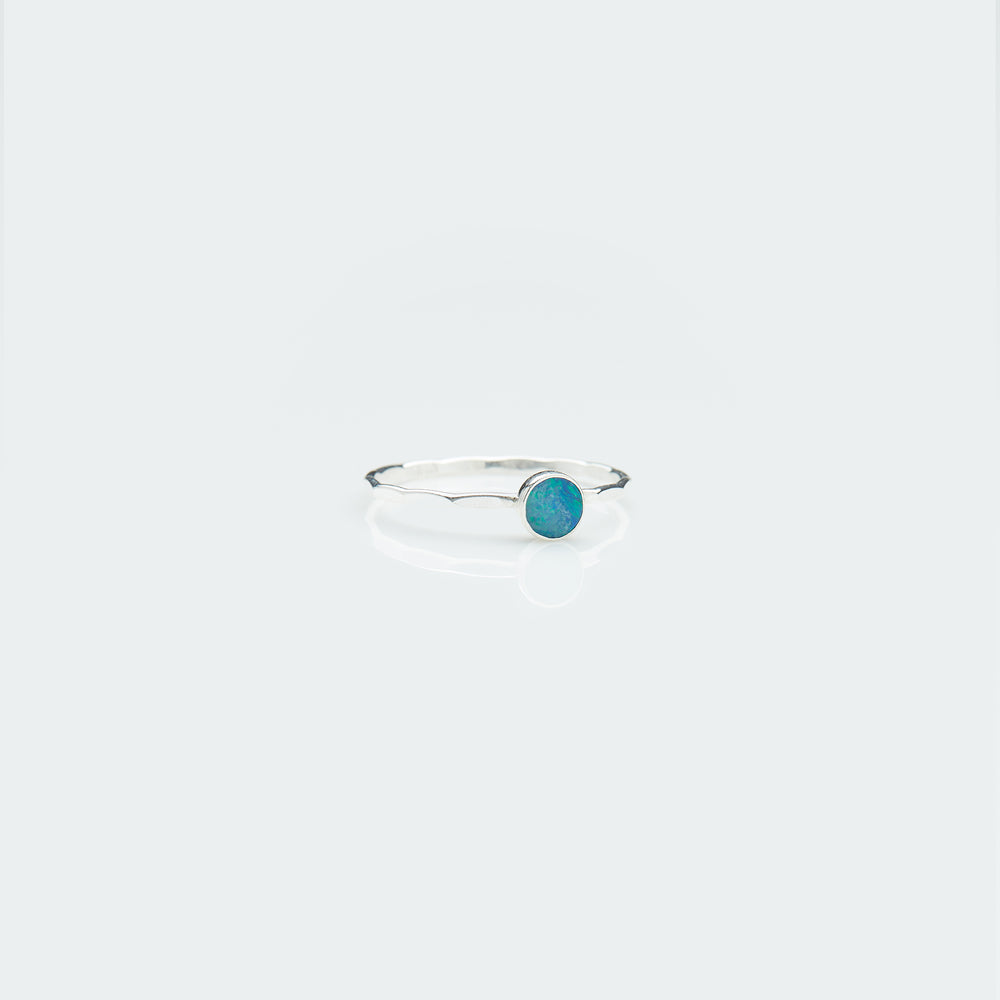 Silver round opal ring - Jungle River series