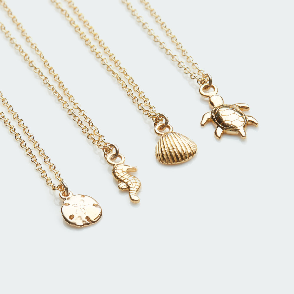 Deep Sea charm collection necklace gold