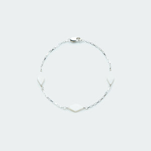 Mother of Pearl box chain bracelet silver