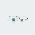 Round tourmaline gemstone ring silver