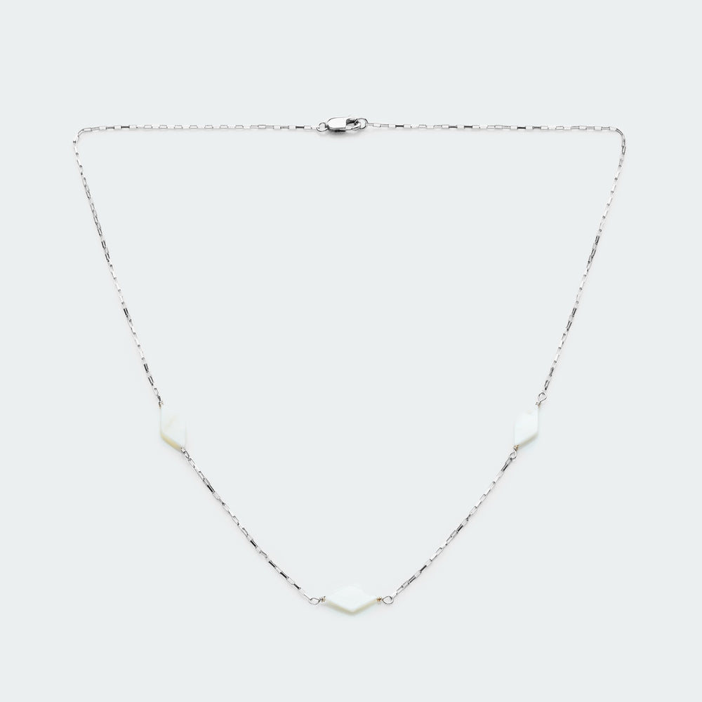 Mother of Pearl box chain necklace silver