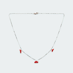 Box chain with Coral Chips necklace silver