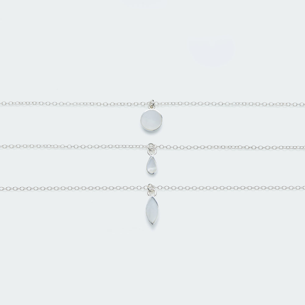 Mother of Pearl charm necklace silver