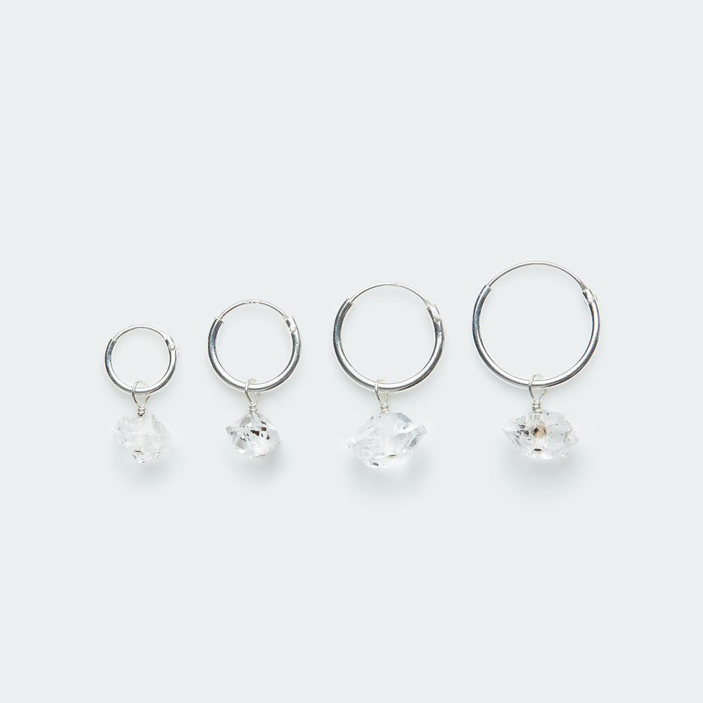 Load image into Gallery viewer, Silver hoop earring with Herkimer diamond