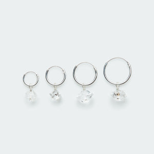 Silver hoop earring with Herkimer diamond