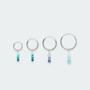 Load image into Gallery viewer, Silver hoop earring with gradient gemstones charm