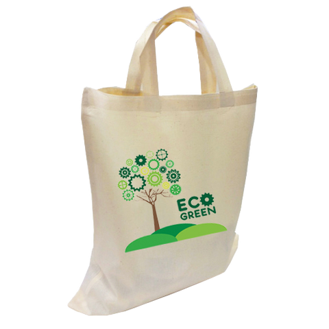 - 100% Natural Cotton Totes Short Handles - Unprinted sample  - PG Promotional Items