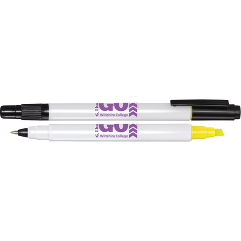 printed pens with both highlighter and pen, promotional janus pens