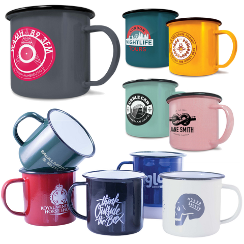 printed enamel mugs, promotional mugs enamel, where to buy enamel mugs with logo, logoed enamel mugs