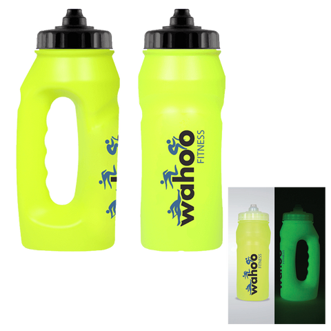 glow in the dark jogging bottles printed, branded fluorescent jogging bottles, printed fluorescent bottles
