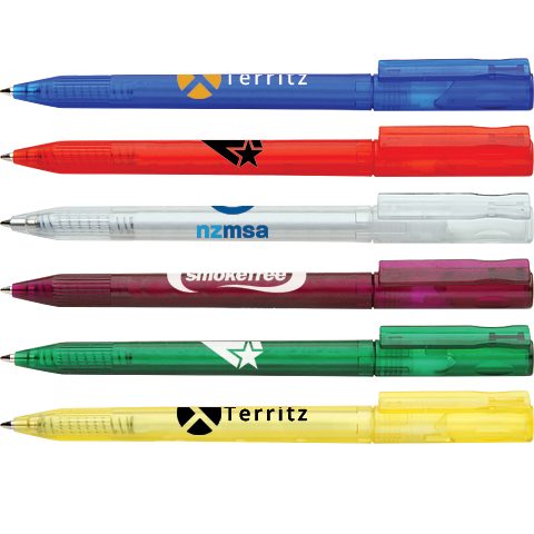 promotional oasis frost pens, printed supervalue pens, low cost printed pens, pens with logo cheap, cheap promotional pens, pens printed cheap