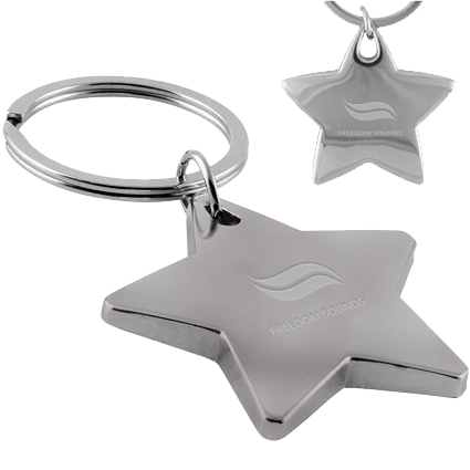 promotional star shaped keyrings, engraved star shaped keyrings